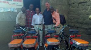 The adventure continues! Pictured here are Kenny Otieno, Ken Gaston, Tom Chacko, Jeff Kirschbaum and another member
